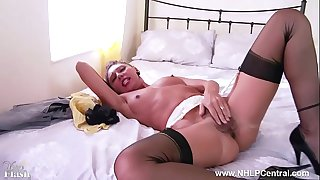 Sexy French Milf wanks hairy pussy in garter vintage nylons